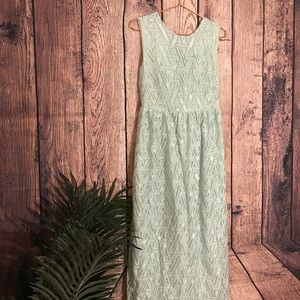 Love Kuza Maxi Dress Lace Green L Sleeveless